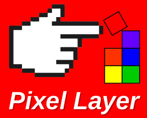 Pixel Layer Logo (Red Background)