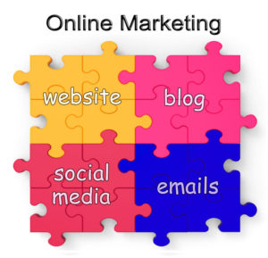 Online Marketing Puzzle Shows Websites, Blogs, Social Media And Emails